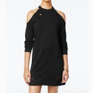 Black Distressed Cold Shoulder French Terry Dress